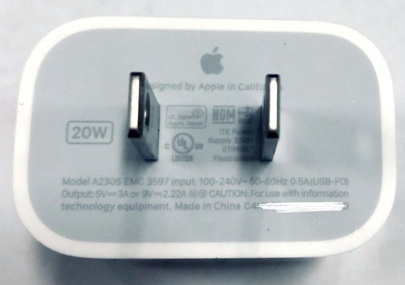 cargador de Apple carga rápida 20w