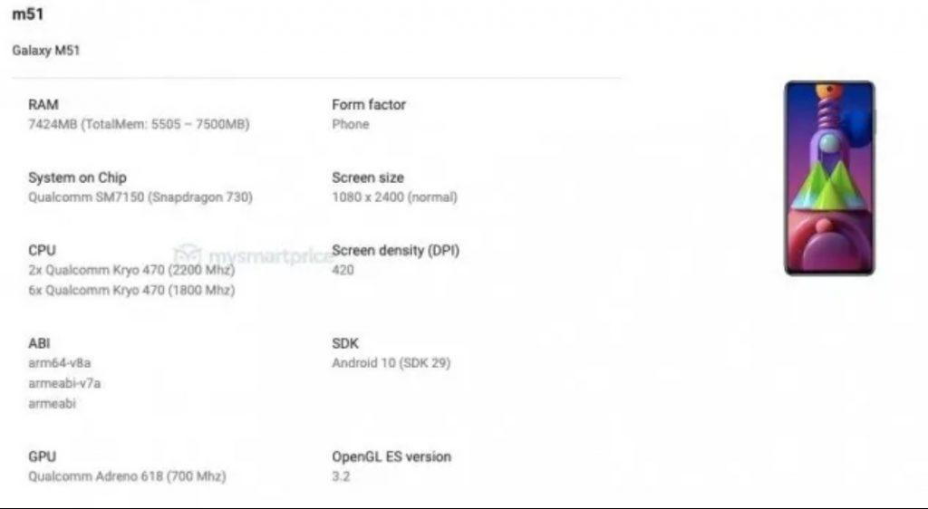 Galaxy M51 especificaciones