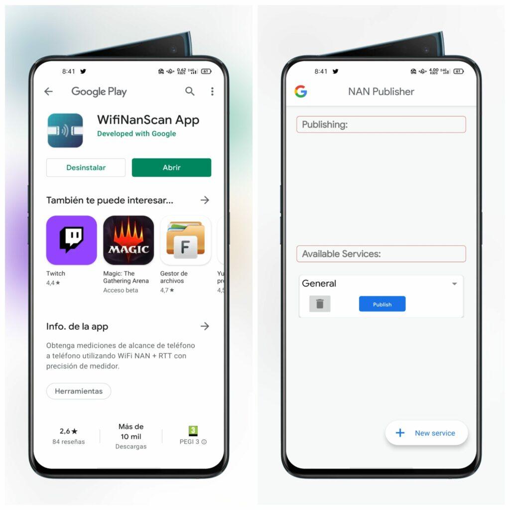 Aplicación WifiNanScan para Wi-Fi Aware